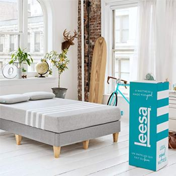 Leesa Original Bed-in-a-Box, Three Premium Foam Layers Mattress, King, Gray & White