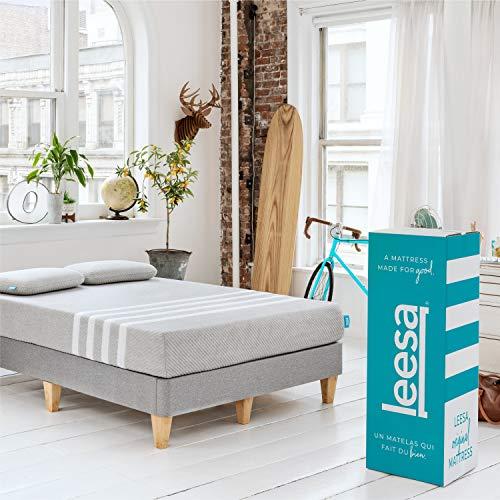 Leesa in a Box Mattress, Full, Gray & White
