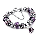 MUERDOU Mother Charms Bracelet for Girls and Women Murano Glass Beads Butterfly Flower Charms Amethyst Bracelets (Amethyst Charm Bracelet)