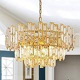 ANTILISHA Gold Chandeliers Modern Crystal Chandelier for Dining Rooms Bedroom Foyer Entryway Ceiling Hanging Pendant Chandelier Light Fixture Lamp 24.5''