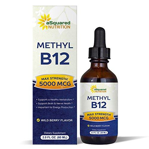 Vitamin B12 Sublingual Liquid Drops - 5000 MCG Supplement with Methylcobalamin (Methyl B-12) - Max Absorption B 12 to Increase Energy & Metabolism - Vegan Friendly - 2 fl oz 1