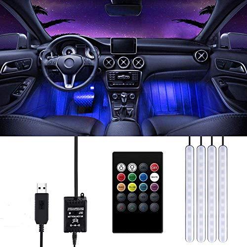 Striscia LED Auto, Trongle Luci LED Interne per Auto con 48 LED RGB, 4 Barre Striscia LED Auto 8 Colori, Illuminazione Auto Strisce 4 Modalit Musica, Telecomando Alimentato da USB