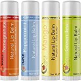 Natural Lip Balm For Women And Men Flavored Lip Repair Treatment For Dry Lips Therapeutic Lip Remedy for Cracked Chapped Lips Four Flavor Multipack With Aloe Vera Shea Butter And Antioxidant Vitamin E