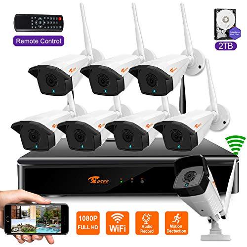 CORSEE H.265+ Kit Videosorveglianza Senza Fili con 2TB Disco Rigido,Sistemi Videocamera,8 Canali 1080P NVR + 8 1080p Esterno Telecamera, IP66 Impermeabile Visione Notturna, Funzione Audio