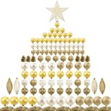 Ogrmar 119ct Christmas Tree Ball Ornaments Set Assorted Shapes and Sizes Shatterproof Hanging Decoration with Hand-held Gift Package for Christmas Tree Holiday Wedding Party (Golden)