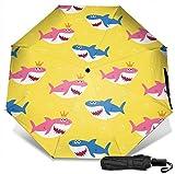 Paraguas de viaje a prueba de viento protección UV (patrón lindo de tiburón)