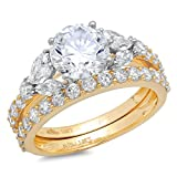 Clara Pucci 2.72CT Round Marquise Cut CZ Halo Bridal Engagement Wedding Ring Set 14k Yellow Gold,...