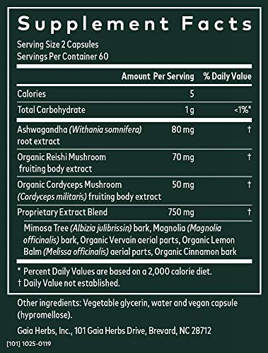 Gaia Herbs Adrenal Health Nightly Restore, Calming Sleep and Stress Support, Ashwagandha, Reishi, Cordyceps, Lemon Balm, Vegan Liquid Capsules, 120 Count 4