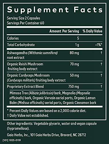 Gaia Herbs Adrenal Health Nightly Restore, Calming Sleep and Stress Support, Ashwagandha, Reishi, Cordyceps, Lemon Balm, Vegan Liquid Capsules, 120 Count 4