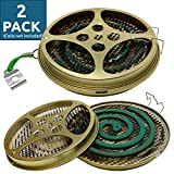 W4W Portable Mosquito Coil Holder - Mosquito Coil & Incense Burner for Outdoor use, Pool Side, Patio, Deck, Camping, Hiking, etc. (Includes Set of 2 Holders)