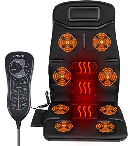 Naipo Massage du Dos Siège de Massage Coussin Massant pour Entier Dos et Cou avec 8 Nœuds de Vibration 4 Modes de Massage dans Maison Bureau Voiture