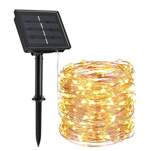 TORCHSTAR Outdoor Solar String Lights, 66ft 200 LEDs Solar Powered Fairy Lights with 8 Lighting Modes, Waterproof Decoration Copper Wire Lights for Patio, Yard, Christmas, Party, Warm White