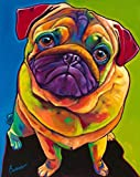 New 5D Diamond Painting Kits for Adults Kids, Awesocrafts Dog Colorful Pug Partial Drill DIY Diamond Art Embroidery Paint by Numbers with Diamonds (Dog)
