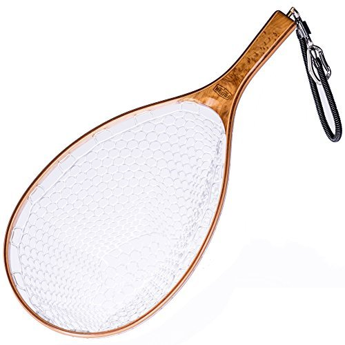 Southern Fox Outfitters Hardwood Fly Fishing Set: Rubber Mesh Net, Magnetic Release