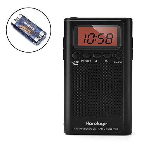 Horologe AM FM Pocket Radio, Portable Alarm Clock Radio with...