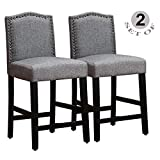 GOTMINSI Bar Stools Set of 2, 24 Inches Height Counter Stools, Upholstered Bar Stools with Antique Gold Nail Heads and Solid Wooden Legs. (Classic Gray)