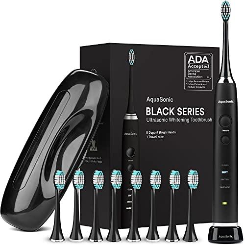AquaSonic Black Series Ultra Whitening Toothbrush – 8 Brush Heads & Travel Case