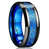 King Will Dragon Mens Black Tungsten Carbide Ring 8mm Blue Celtic Dragon Wedding Band Comfort Fit High Polished(8)