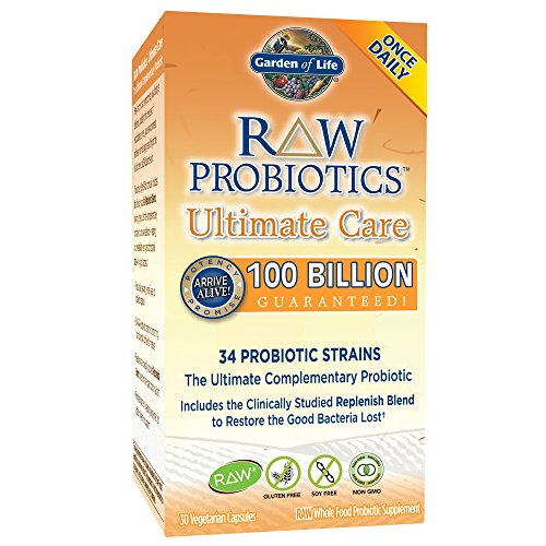 Garden of Life - RAW Probiotics Ultimate Care - Acidophilus and Bifidobacteria Live Culture Probiotic - Gluten, Soy, and GMO-Free - 30 Vegetarian Capsules (Shipped Cold) 1