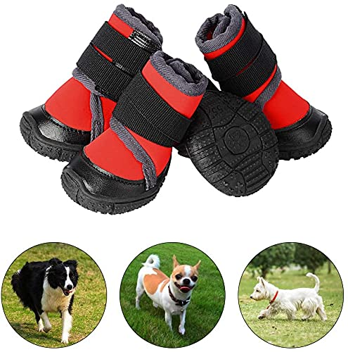 PETLOFT Scarpe per Cani, 4pcs Antiscivolo Stivali per Cani con Cinturino Regolabile Dog Boots per Cani di Medio Piccola Grande, Cani Stivaletti Facile da Indossare (XS, Rosso)