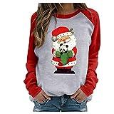 Camiseta de Navidad Patrón de Papá Noel Camiseta Navidad de Manga Larga Estampado de Lunares Camisetas Largo de Mujeres Chica