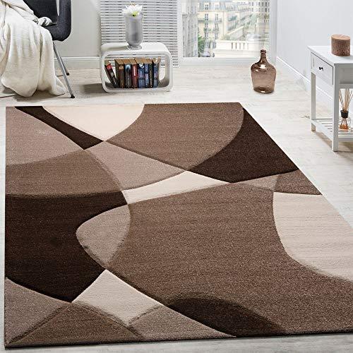 Paco Home Tappeto di Design Moderno Motivo Geometrico Taglio Sagomato Marrone Crema Beige,...