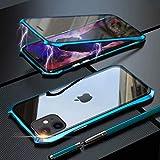 前後両面ガラス iPhone11Pro ケース 防爆裂 ガラス アルミ バンパー マグネット 止め式 360°全……