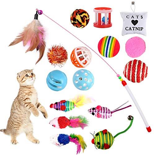 16 Piezas para Gatos, Juguete Interactivo con Plumas, Ratones y Bolas Varias