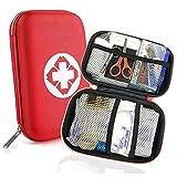Trousse de Premier Secours 18 Articles, Rouge Semi-Rigide Mini Box Sac d'urgence Médical...