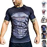 Khroom T-Shirt de Compression de Super-héros pour Homme | Vêtement Sportif à Séchage Rapide pour Fitness, Gym, Course, Musculation | Matériel Anti Transpiration (Batman II, XL)