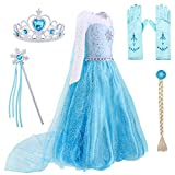 AmzBarley Princess Costumes for Girls Halloween Fancy Party Cosplay Dress Up Toddler Kids Preschool Role Play Outfits (Blue 001, 3-4Years)