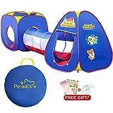 Tente de jeu igloo pop-up pour enfants avec tunnel thème spatial bleu