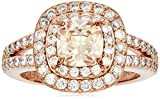 Rose Gold Plated Sterling Silver Cushion Cut Champaign Cubic Zirconia 6mm Double Halo Ring, Size 8