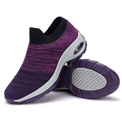 incarpo Womens Walking Shoes Sock Sneakers Slip on Breathable Mesh Platform Air Cushion Sneakers Sock Shoes