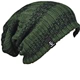 FORBUSITE Mens Slouchy Long Oversized Beanie Knit Cap for Summer Winter B08 (Green with Black)