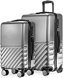 2 juegos de maletas, 55 cm, conchas duras ligeras, adecuadas para todas las aerolíneas,Silver
