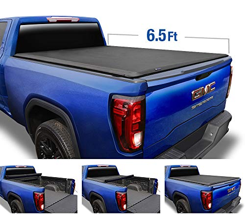 Tyger Auto T1 Soft Roll Up Truck Bed Tonneau Cover for 2014-2019 Chevy Silverado / GMC Sierra 1500; 2015-2019 2500 HD 3500 HD 2019 Classic ONLY Fleetside 6.5' Bed TG-BC1C9007, Black
