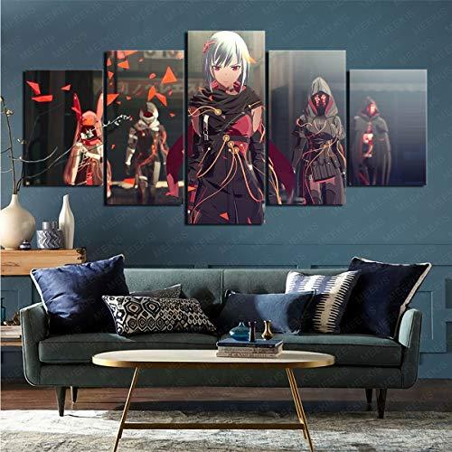 mmkow Das Bild ist auf 5 Teilen des Videospiels Scarlet Nexus Wohnzimmer Schlafzimmer Zimmer Wohnkultur 80x150cm (Rahmenlos) gedruckt