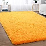 Merelax Modern Soft Fluffy Large Shaggy Rug for Bedroom Livingroom Dorm Kids Room Indoor Home Decorative, Non-Slip Plush Furry Fur Area Rugs Comfy Nursery Accent Floor Carpet 5x8 Feet, Orange