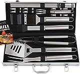 Romanticist 18 PC Kit Barbecue in Acciaio Inox - Kit Barbecue Premium per Uomo Regalo di Compleanno di papà - Perfetti per Barbecue Accessori Utensili da...