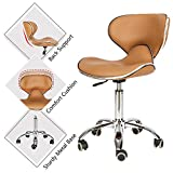 Mefeir Hydraulic Rolling Salon Stool Padded with Back Rest, Modern Cushion Drafting Chair on Wheels for Office Home Kitchen Counter, Height Adjustable Swivel Barstool, PVC Leather