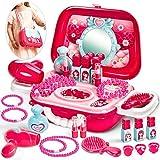 Buyger Maquillaje Juguetes Niñas Maletin Belleza Tocador Set Joyería Peluqueria Princesa Kit Cumpleaños Navidad Regalo para Niños Niñas Princesa Infantil 3 4 5 Años