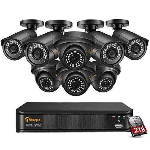 Anlapus 8CH 5MP Kit Videosorveglianza IP PoE, 8CH h.265+ PoE NVR e 8x Telecamera PoE Esterno, Sistema di Sorveglianza con HDD da 2TB, Registrazione 24/7, Rilevamento del Movimento, Accesso Remoto