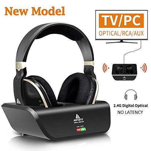 Wireless Headphones for TV with Optical, MONODEAL Digital Stereo Over Ear Headsets with Charging Dock, 2.4GHz Rf Transmitter, 20H Playtime, for TV Pc Mobile