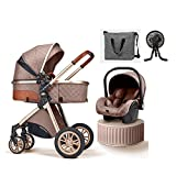 JIAX Baby Carriage Stroller 3 in 1 Foldable Baby Stroller Travel System with Car Seat Easy Fold Stroller Footmuff Blanket Cooling Pad Rain Cover Backpack Mosquito Net (Color : Khaki)