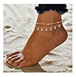 Wishoney Star Anklet Boho Beach Jewelry Layer Anklet Chain for Women Adjustable Anklet