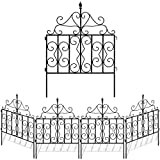 Amagabeli Decorative Garden Fence 32in x 10ft Black Metal Landscape Wire Folding Fencing Patio Wire...