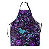 DZGlobal Colorful Butterflies and Flowers Apron for Women with Pockets The Magical Mystical Purple...