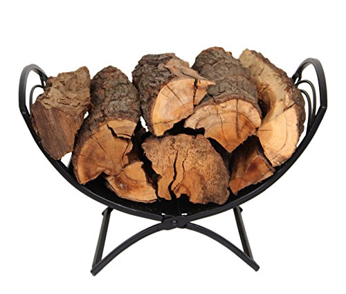 Patio Watcher Folding Firewood Rack Log Bin Firewood Storage Holder for Indoor Outdoor Backyard Fireplace Heavy Duty Steel Black