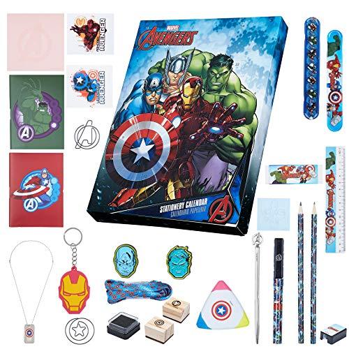 Marvel Calendario Avvento 2021 per Bambini, Calendario dell Avvento con Set Cancelleria Avengers del Merchandise Ufficiale, + 24 Regali Scoprire, Idea Regalo Natale